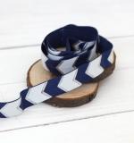 Резинка Сине-белый шеврон с серебром