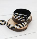 Резинка Черная с белыми полосками и золотом
