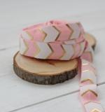 Резинка Розово-белый шеврон с золотом