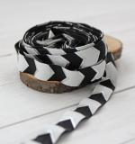 Резинка Чёрно-белый шеврон с серебром