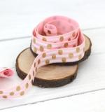 Резинка Розовая с белыми полосками и золотом